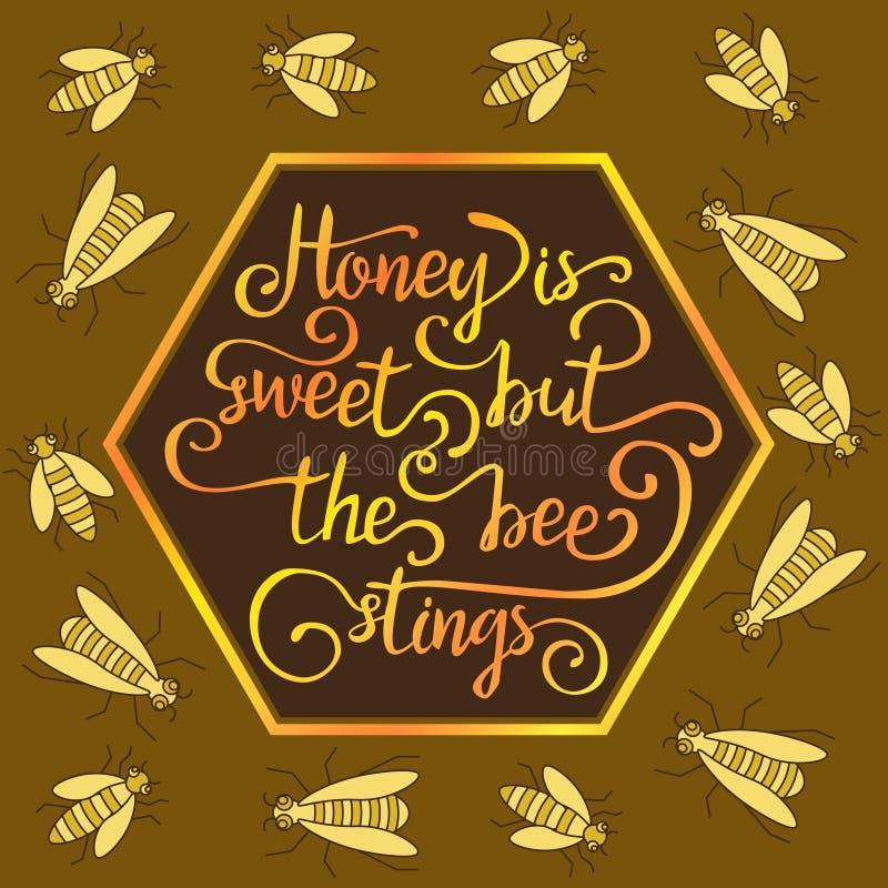 Download Hiney Est Doux Mais Les Piqûres D'abeilles Illustration de Vecteur - Illustration du couleur, animaux: 77161443