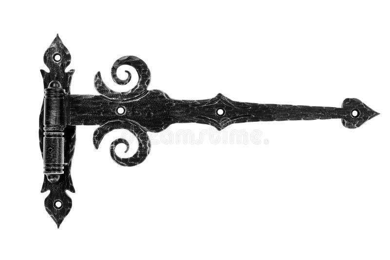 Hinge. Old fashioned metal hinge isolated on white background stock images