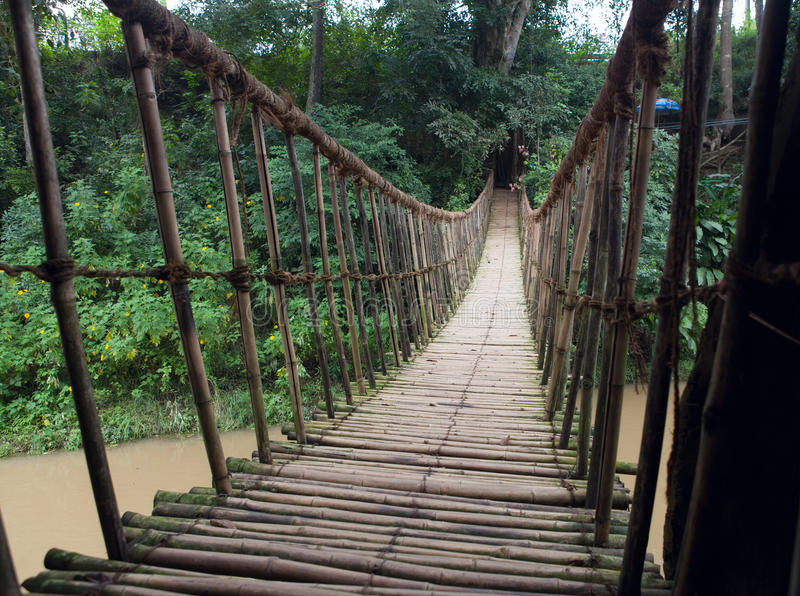 Hinged bridge over the river, Dalat. royalty free stock photos
