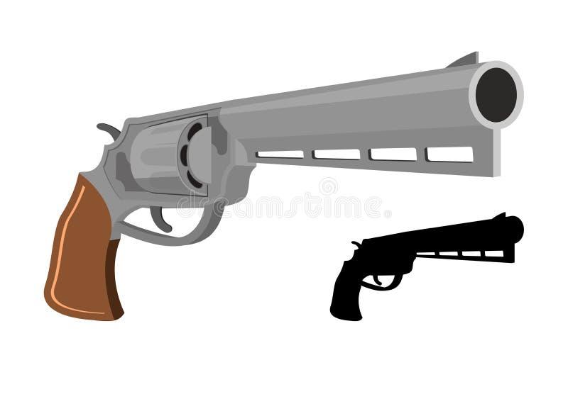 Hingstfölskjutvapen 38 millimeter och kulor med vit bakgrund Stor magnumbutelj royaltyfri illustrationer