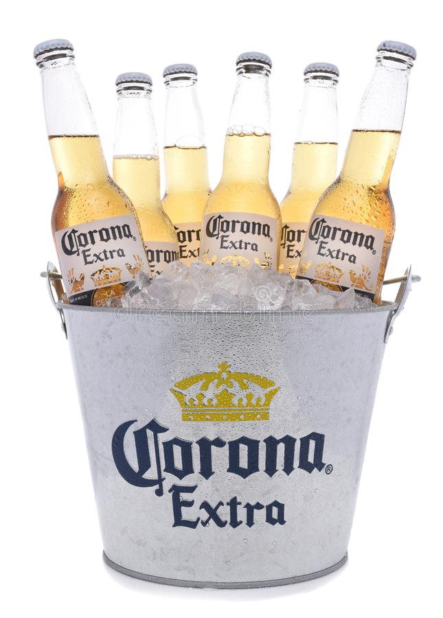 Hink av Corona Extra Beer Bottles royaltyfria foton