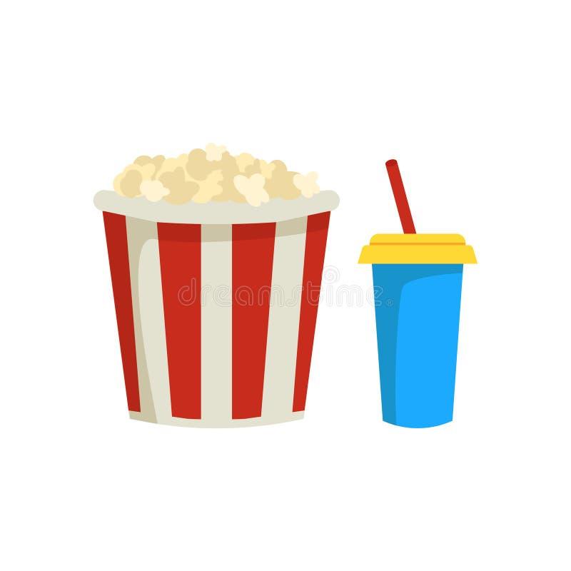 Hink av popcorn och den söta coctailen i plast- kopp med dricka sugrör Smakligt mellanmål och drink Symboler släkta biotemat vektor illustrationer