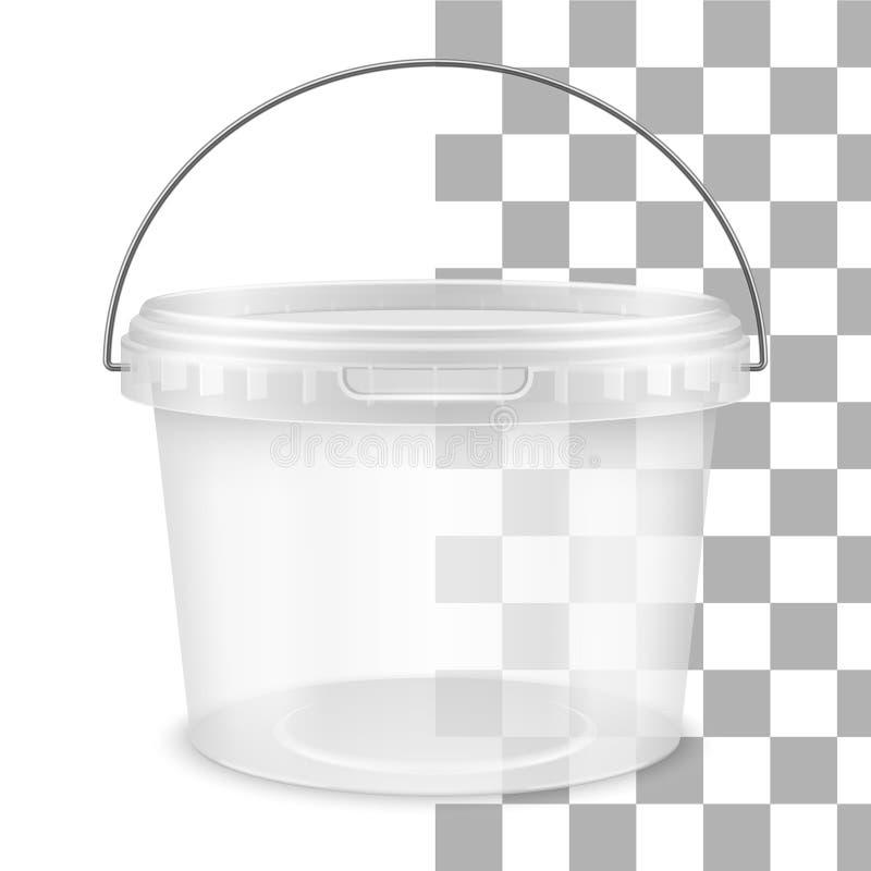 Hink för genomskinlig runda för vektor tom plast- med det metalliska handtaget Bekl?da besk?dar royaltyfri illustrationer