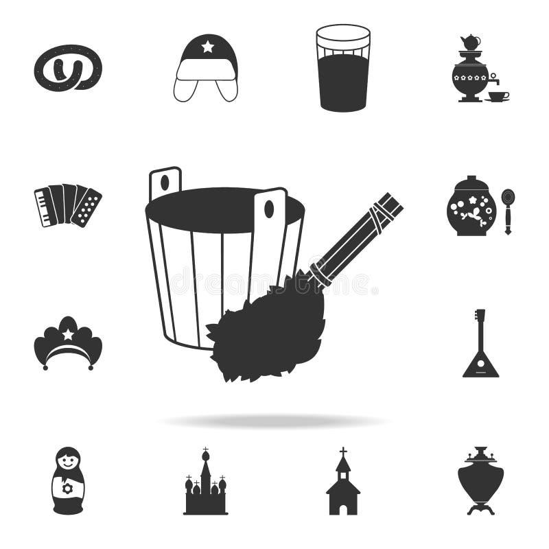 hink med kvasten för badsymbol Detaljerad uppsättning av symboler för rysk kultur Högvärdig grafisk design En av samlingssymboler royaltyfri illustrationer