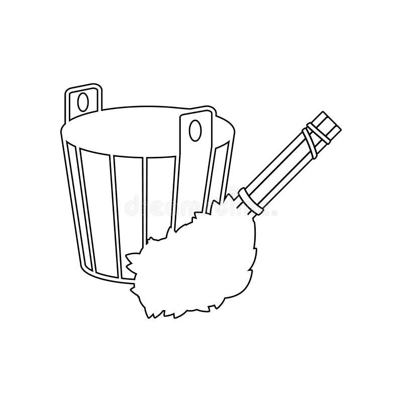 hink med kvasten f?r badsymbol E ?versikt tunn linje symbol f?r website stock illustrationer