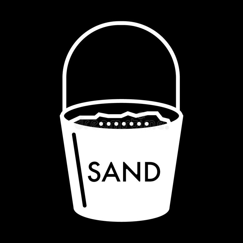 Hink med sandheltäckandesymbolen Vektorillustration som isoleras på svart skårastildesign som planläggs för rengöringsduk och app royaltyfria bilder