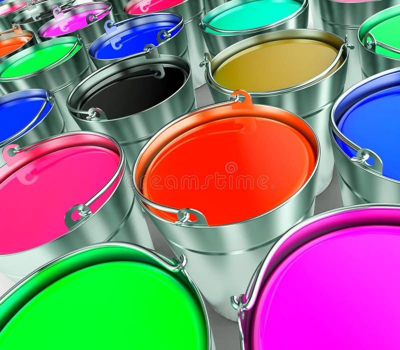 Hinkar med en målarfärg stock illustrationer