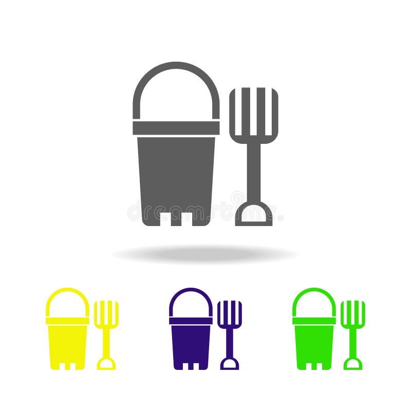 hinken med skopan färgade symboler Beståndsdel av leksaker Kan användas för rengöringsduken, logoen, den mobila appen, UI, UX royaltyfri illustrationer