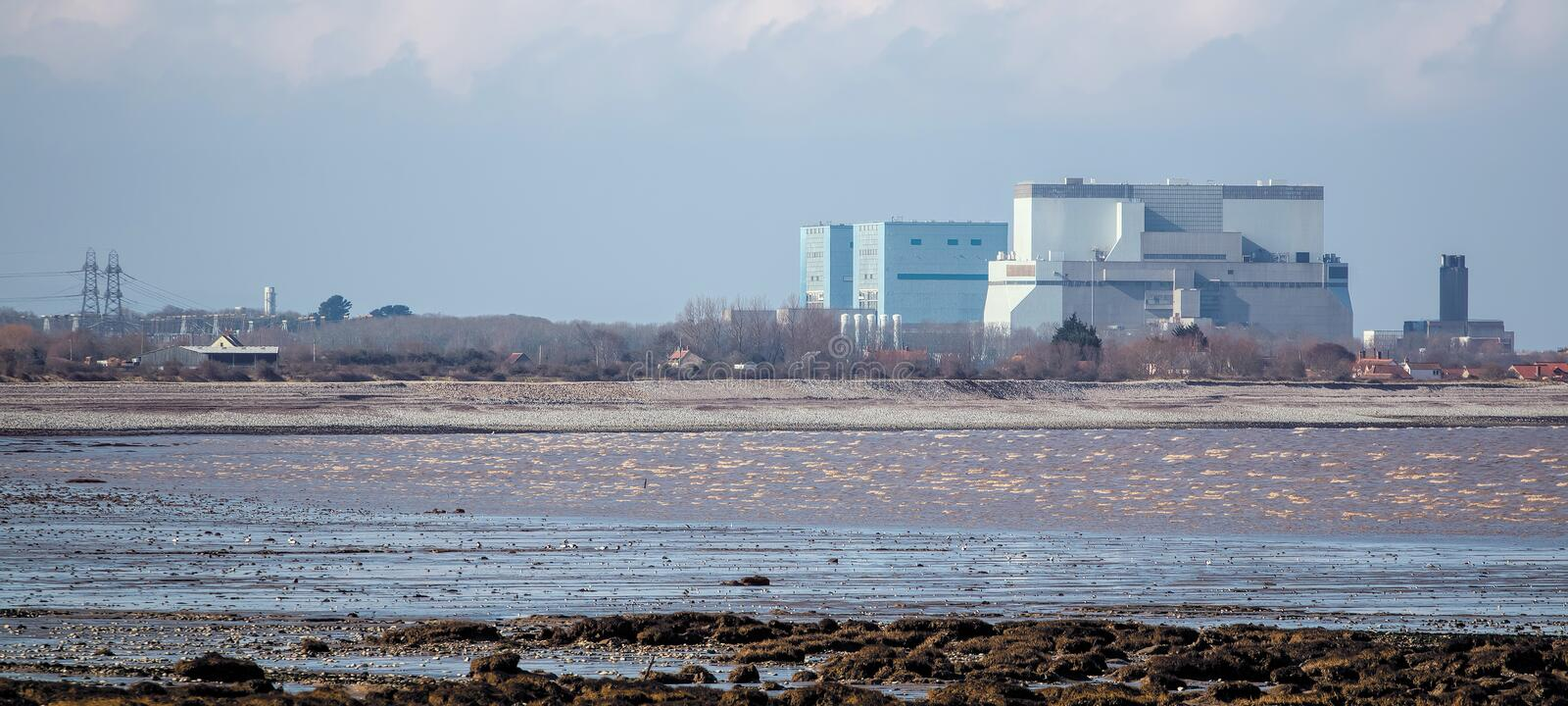 Hinkley Point Nuclear Power Station Somerset, UK. SOMERSET, UK - FEBRUARY 28, 2016: Hinkley Point Nuclear Power Station Somerset, UK. Proposed construction site stock image