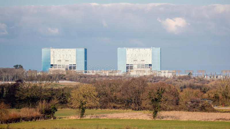 Hinkley Point Nuclear Power Station Somerset, UK. SOMERSET, UK - FEBRUARY 28, 2016: Hinkley Point Nuclear Power Station Somerset, UK. Proposed construction site stock photography