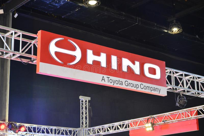 Hino motors signage. PASAY, PH - AUG. 17: Hino signage on August 17, 2018 at Transport and Logistics in World Trade Center Metro Manila, Pasay, Philippines stock images