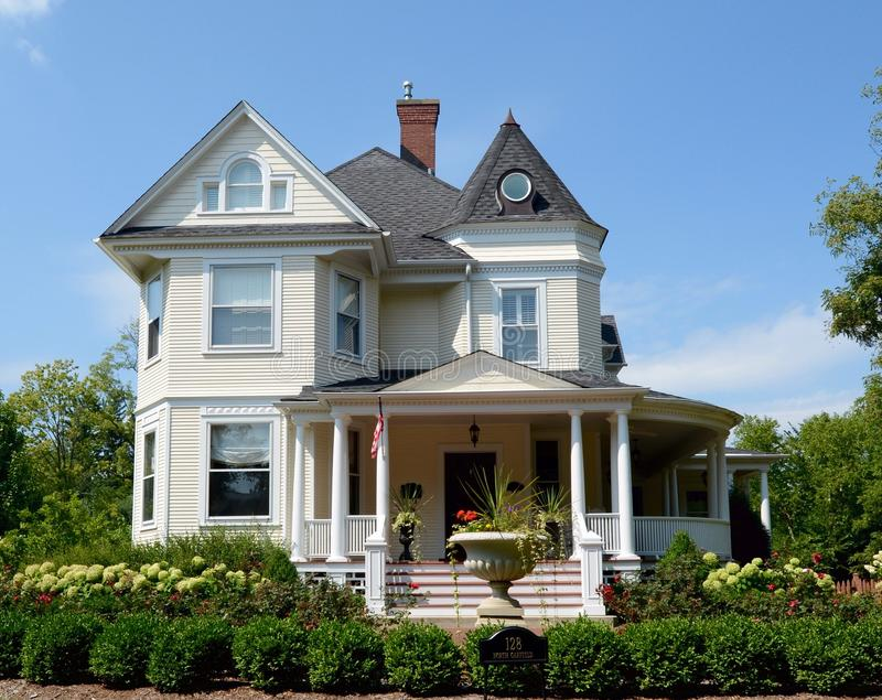 Hinsdale Italianate. This is a Summer picture of a house located in Hinsdale, Illinois. The house built in 1907 is an example of Italianate architecture, and royalty free stock photo