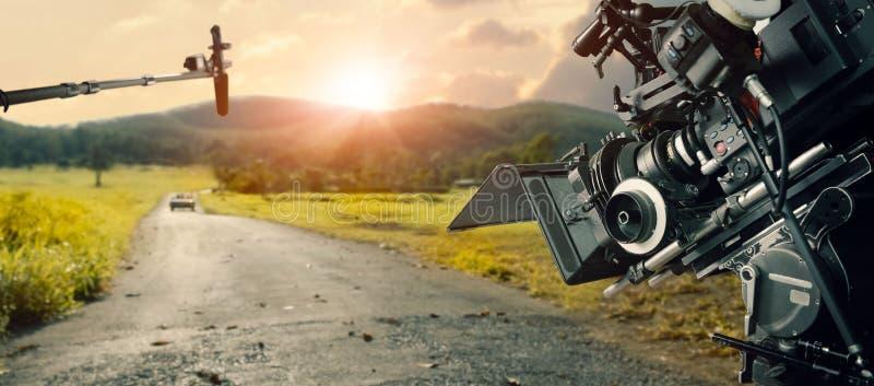 Hinter den Kulissen Herstellung des Films und der TV-Werbung Filmteam B-Rolle und Mannschaftsteam lizenzfreies stockbild