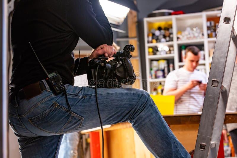 Hinter den Kulissen von der Videoproduktion oder vom Videodreh stockbilder