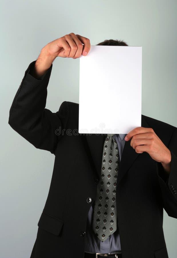 Hinter Papier stockbild