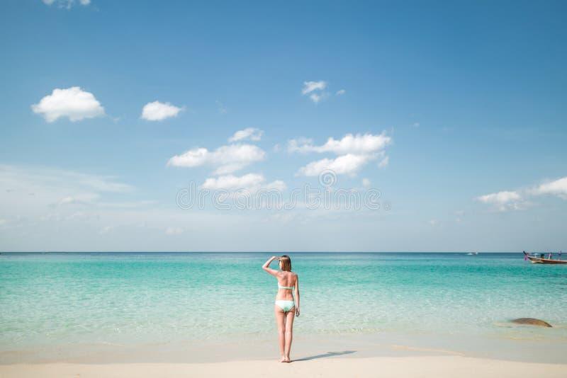 Hintere Ansicht der Frau im Bikini, der bei der Stellung auf Küstenlinie weg schaut stockbilder