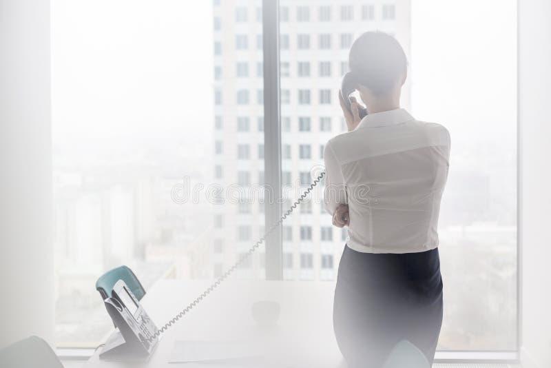 Hintere Ansicht der Geschäftsfrau sprechend am Überlandleitungstelefon bei der Stellung im Büro stockbilder