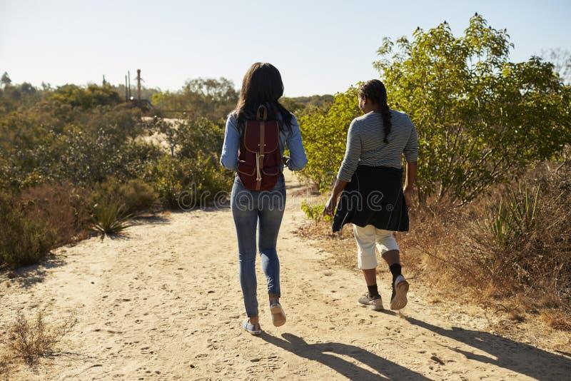 Hintere Ansicht der Mutter-und Erwachsen-Tochter, die in der Landschaft wandert lizenzfreie stockfotos