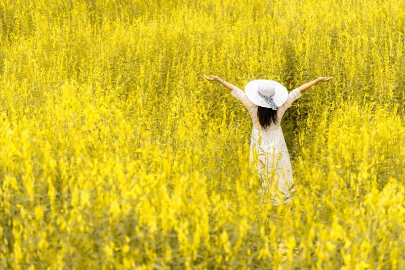 Hintere Ansicht der Sch?nheitsfrau mit wei?em Fl?gelhut und wei?em Kleid in der Blumenwiese Leute und Modekonzept Natur und stockbild