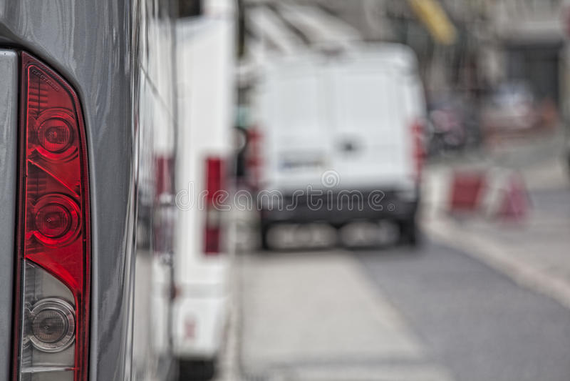 Hintere Ansicht des Busses, rote Lampe stockbild