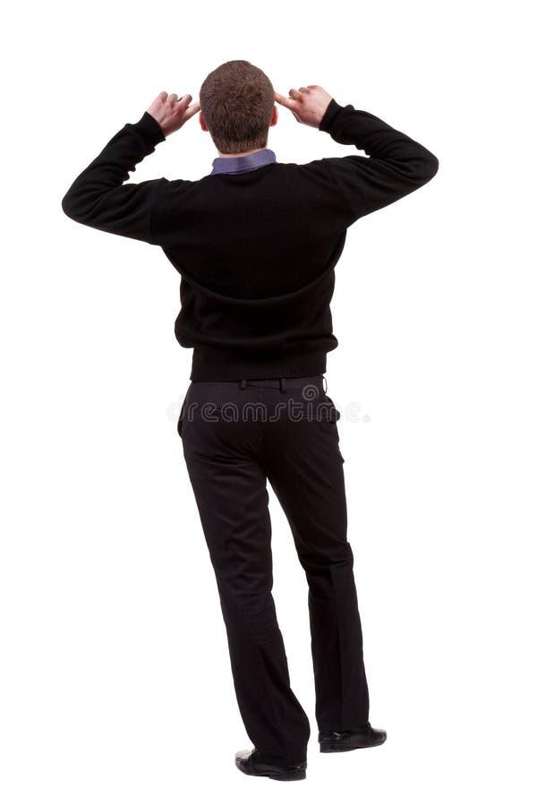 Download Hintere Ansicht Des Denkenden Geschäftsmannes Stockfoto - Bild von mann, baumuster: 26353272