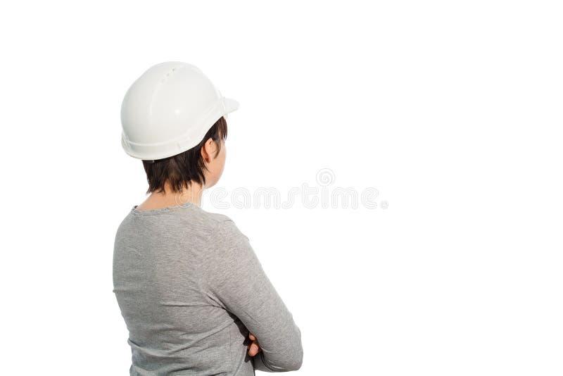 Hintere Ansicht des Fraueningenieurs stockbild