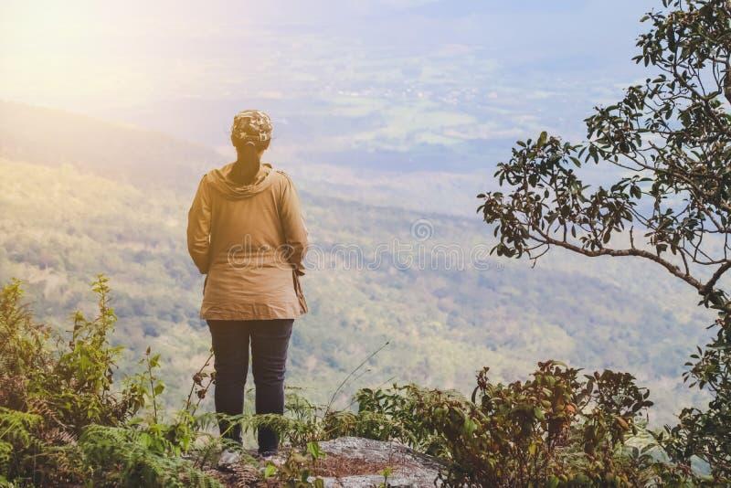 Hintere Ansicht des Frauenreisenden überraschende Berge und Wald betrachtend, der Freiheit und des aktiven Lebensstilkonzeptes, R stockfoto
