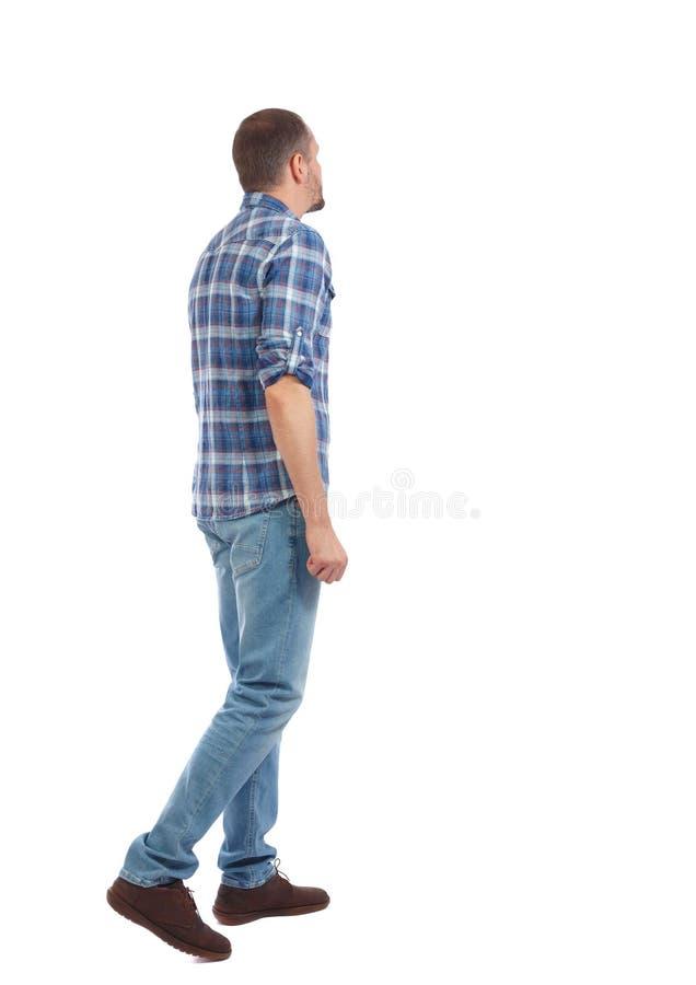 Hintere Ansicht des gehenden gutaussehenden Mannes gehender junger Kerl lizenzfreies stockfoto