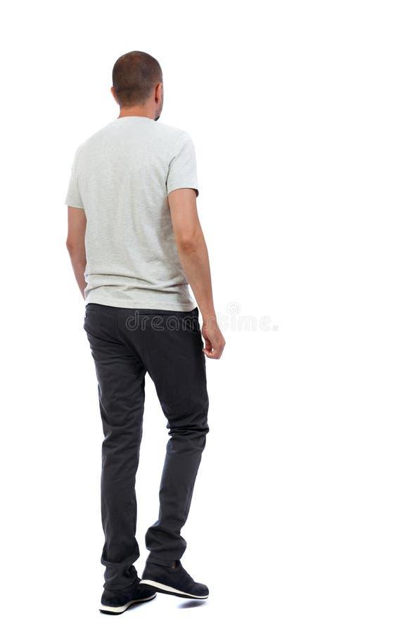 Hintere Ansicht des gehenden gutaussehenden Mannes gehender junger Kerl lizenzfreie stockfotos