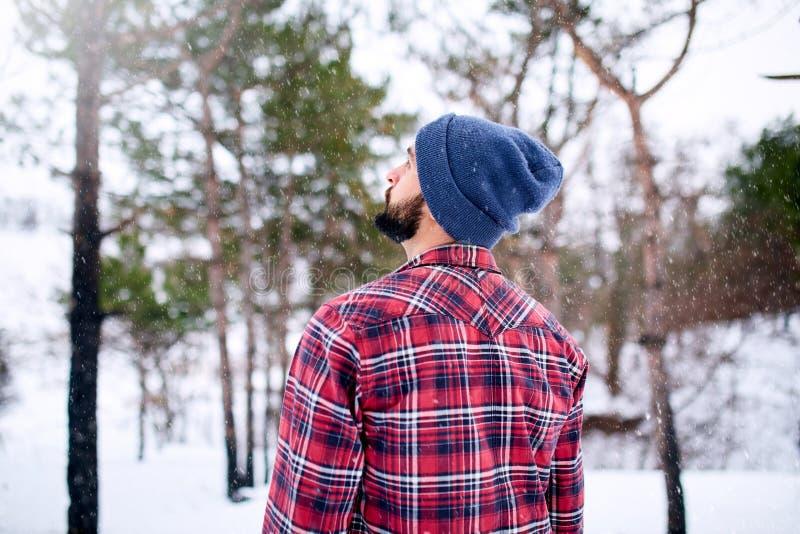 Hintere Ansicht des hübschen bärtigen jungen Mannes, im roten Double des karierten Hemds und des Hutes im schneebedeckten Wald de stockfoto
