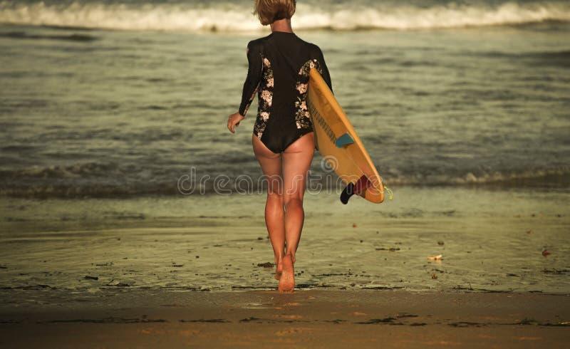 Hintere Ansicht des jungen attraktiven und sportlichen Surfermädchens im kühlen Badeanzug am tragenden Brandungsbrett des Strande stockbild