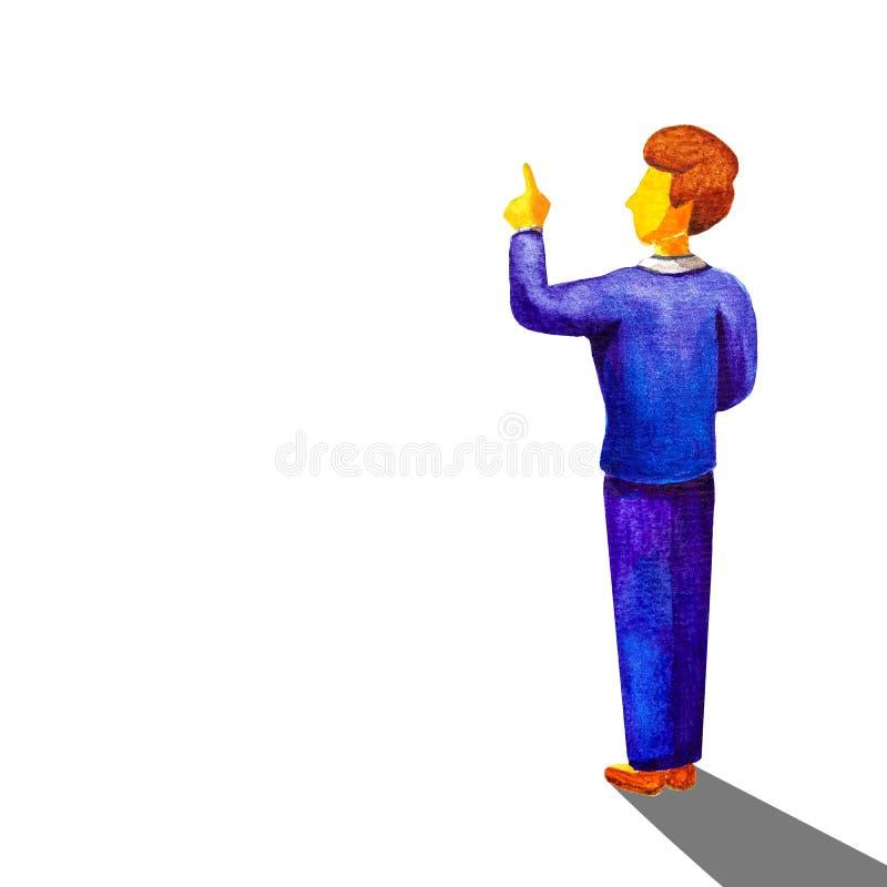 Hintere Ansicht des jungen Geschäftsmannes, der Note des Fingers am Kopienraum lokalisiert über weißem Hintergrund gestikuliert G vektor abbildung