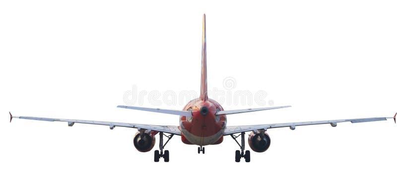 Hintere Ansicht des lokalisierten Weiß des Passagierflugzeugs Flugzeug lizenzfreie stockfotos