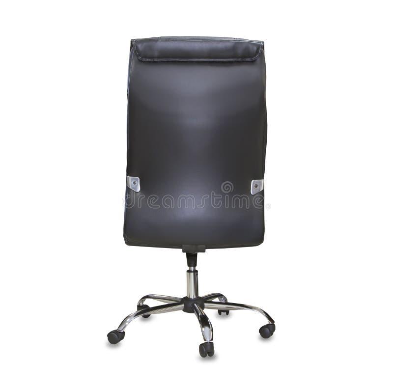 Hintere Ansicht des modernen Bürostuhls vom schwarzen Leder stockfotos