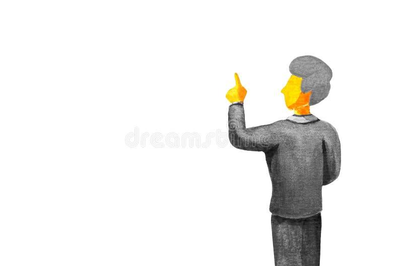 Hintere Ansicht des noblen reifen Geschäftsmannes in der grauen Klage Finger auf weißem Hintergrund zeigend Lokalisiert in der Aq vektor abbildung