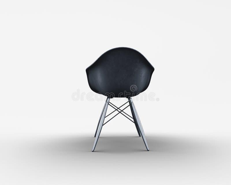 Hintere Ansicht des schwarzen dinning Stuhls mit den Metallbeinen stock abbildung