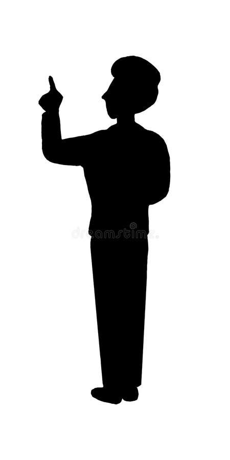 Hintere Ansicht des schwarzen Schattenbildes der Geschäftsmannlehrer-Mannperson, die Finger auf weißem Hintergrund zeigt stock abbildung