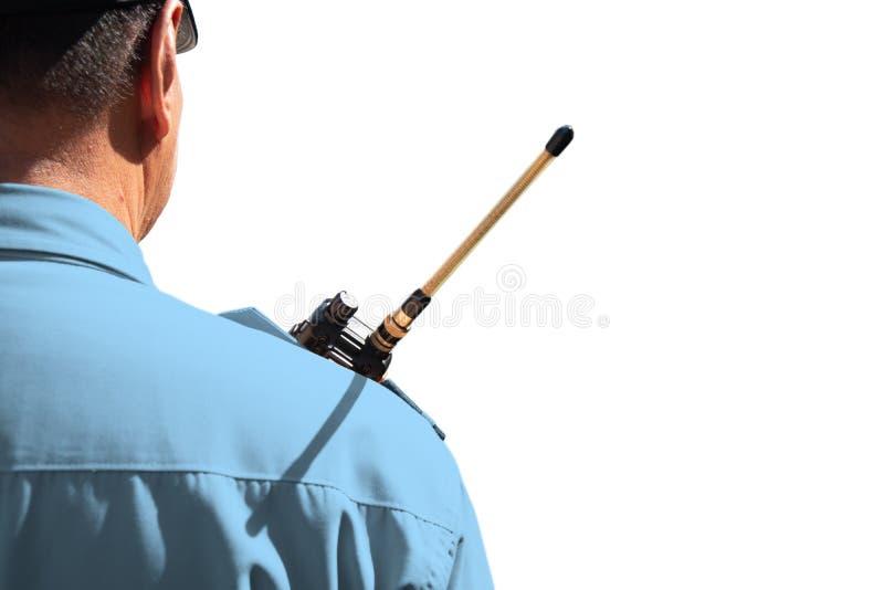 Hintere Ansicht des Sicherheitsbeamten stockbild