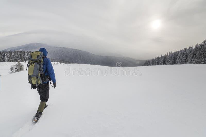 Hintere Ansicht des touristischen Wanderers in der warmen Kleidung mit Rucksack die aufwärts Berge gehend bedeckt mit Schnee auf  lizenzfreies stockfoto