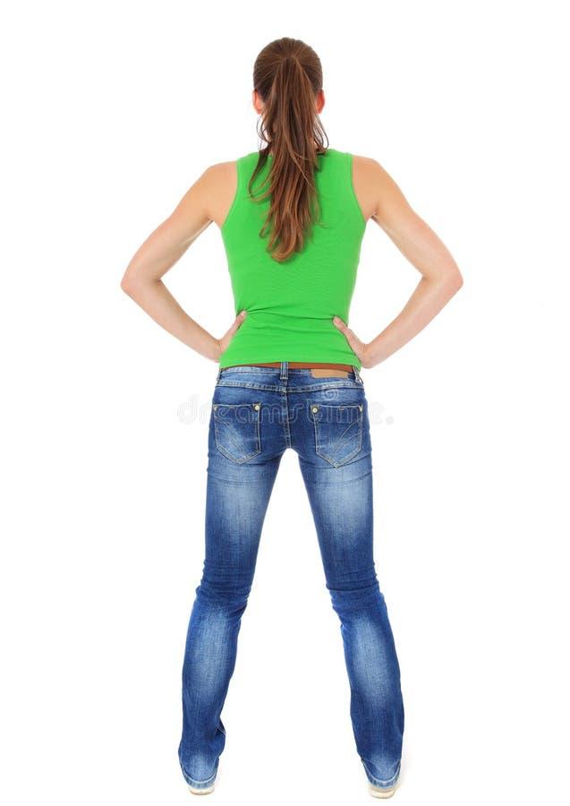 Hintere Ansicht einer attraktiven jungen Frau lizenzfreies stockfoto