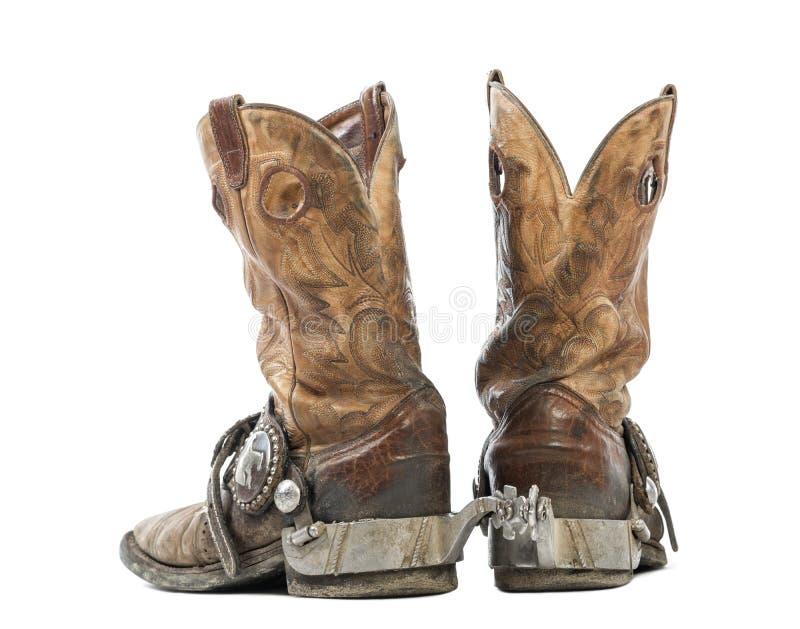 Hintere Ansicht eines Paares Cowboystiefel stockfoto