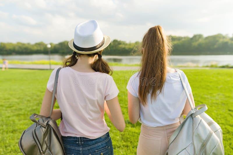Hintere Ansicht, Freundinnen gehen in den Park in der Natur Mädchen gehen entlang den grünen Rasen, sprechen, haben Spaß stockfotografie