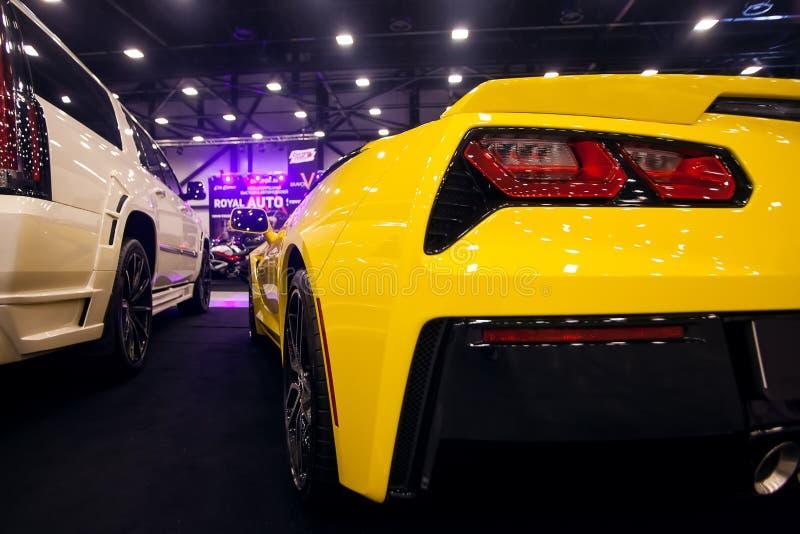 Hintere Ansicht gelben Korvette-Stechrochens C7 stockbild