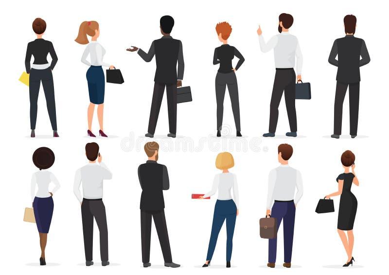 Hintere Ansicht von den Geschäftslokalleutegruppen-, -mann- und -frauencharakteren, die zusammen lokalisierte Vektorillustration  lizenzfreie abbildung