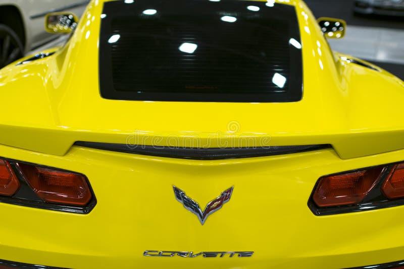 Hintere Ansicht von einem gelben Chevrolet Corvette Z06 Autoäußerdetails lizenzfreie stockfotos