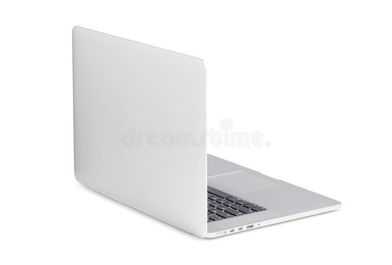 Hintere Ansicht von gedreht an einem modernen Laptop des geringfügigen Winkels stockbild