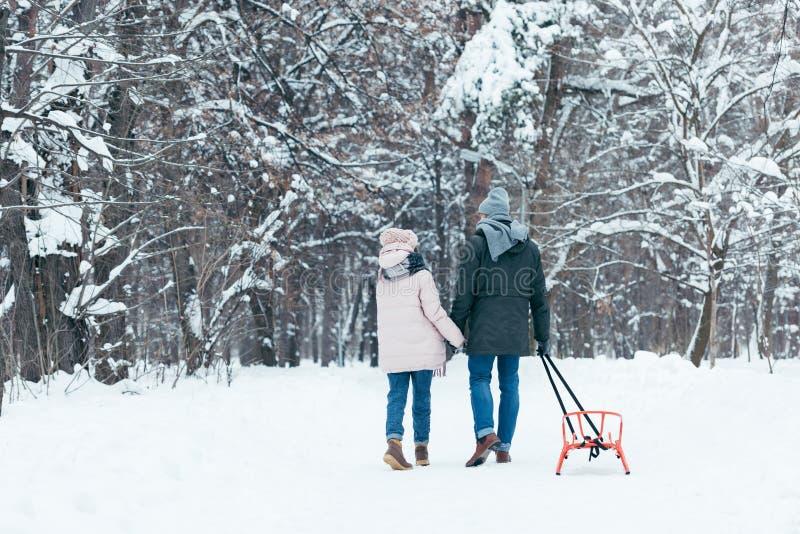 hintere Ansicht von Paaren mit dem Schlittenhändchenhalten beim Gehen stockfotografie