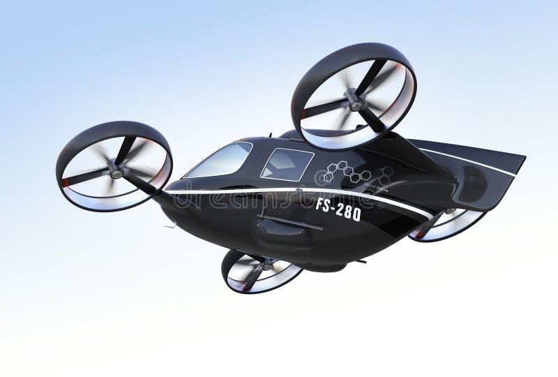 Hintere Ansicht von Selbst Passagier-Drohnenfliegen im Himmel fahrend stock abbildung