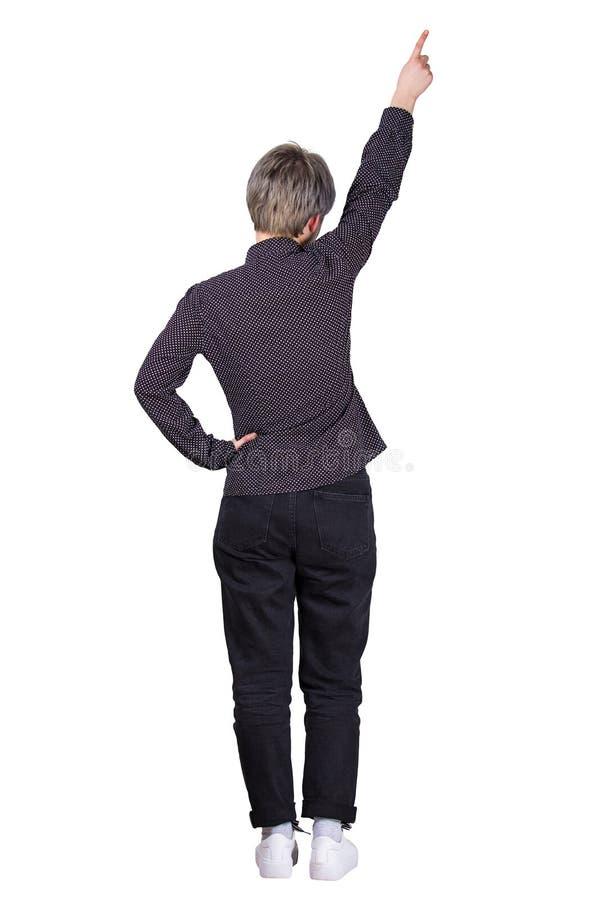 Hintere Frau, die sich zeigt lizenzfreie stockbilder