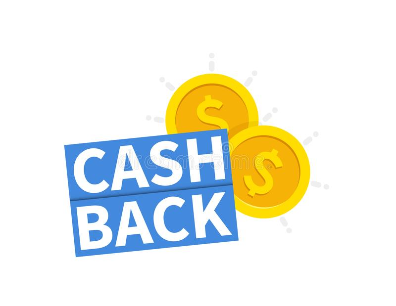 Hintere Ikone des Bargeldes Getrennt auf weißem Hintergrund cashback oder Geldrückerstattungsaufkleber Auch im corel abgehobenen  lizenzfreie abbildung